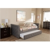 Swamson Modern and Contemporary Grey Fabric Tufted Twin Size Daybed with Roll-out Trundle Guest Bed