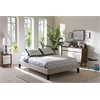 Lancashire Modern and Contemporary Beige Linen Fabric Upholstered Full Size Bed Frame with Tapered Legs