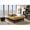 Lancashire Modern and Contemporary Black Faux Leather Upholstered Queen Size Bed Frame with Tapered Legs