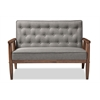 Sorrento Mid-century Retro Modern Grey Fabric Upholstered Wooden 2-seater Loveseat