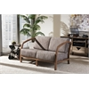 "Velda Modern and Contemporary Walnut Brown Wood and Gravel Multi Color Fabric 2-Seater Loveseat ""Gravel"" Multi Colors"