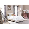 Benjamin Modern and Contemporary Beige Linen Upholstered Twin Size Arched Bed with Nail Heads