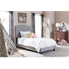 Benjamin Modern and Contemporary Grey Fabric Upholstered Twin Size Arched Bed with Nail Heads