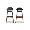 Bloom Mid-century Retro Modern Scandinavian Style Black Faux Leather Upholstered Walnut Wood Finishing 30-Inches Bar Stool