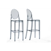 "Infinity Smoked Plastic Contemporary Bar Stool ""Smoke"" Grey"