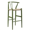 Mid-Century Modern Wishbone Stool - Green Wood Y Stool