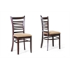 Cathy Brown Wood Modern Dining Chair Dark Brown/Beige
