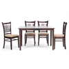Cathy Brown Wood Modern 5 Piece Dining Set