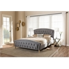 Hannah Modern and Contemporary Grey Velvet Fabric Upholstered and Natural Finishing Queen Size Platform Bed