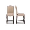Zachary Chic French Vintage Oak Brown Beige Linen Fabric Upholstered Counter Height Dining Chair Brown/Beige