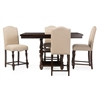 Zachary Chic French Vintage Oak Brown 5-Piece Square Counter Pub Set Brown/Beige