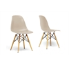 Azzo Beige Plastic Mid-Century Modern Shell Chair