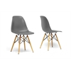 Azzo Grey Plastic Mid-Century Modern Shell Chair