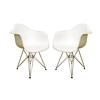 Pascal White Plastic Mid-Century Modern Shell Chair