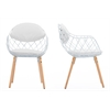 Siatka Contemporary White Metal & Leather Dining Chair