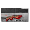 Crimson Canoes Mounted Photography Print Diptych Multi