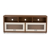 Swindon Modern Two-tone Walnut and White TV Stand with Glass Doors Walnut/White