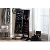 Alena Brown Finishing Wood Free Standing Cheval Mirror Jewelry Armoire