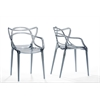 "Electron Smoked Plastic Contemporary Dining Chair ""Smoke"" Grey"