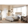 Ramon Modern and Contemporary Beige Linen Upholstered Queen Size Bed with Nail Heads