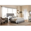 Ramon Modern and Contemporary Grey Fabric Upholstered Queen Size Bed with Nail Heads