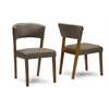 "Montreal Mid-Century Dark Walnut Wood Grey Faux Leather Dining Chairs ""Walnut"" Brown"