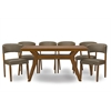"Montreal Mid-Century Dark Walnut Wood 7PC Dining Set ""Walnut"" Brown/Grey"