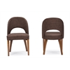 Lucas Mid-Century Style Brown Fabric Dining Chair