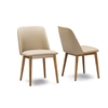 "Lavin Mid-Century ""Walnut"" Light Brown/Beige Faux Leather Dining Chair Walnut Light Brown/Beige"