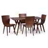 "Elsa Mid-century Modern Scandinavian Style Dark Walnut Bent Wood 5 Pieces Dining Set ""Walnut"" Dark Brown"