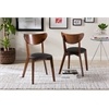 Sumner Mid-Century Black Faux Leather and Walnut Brown Dining Chair Black/Walnut Brown