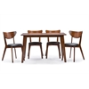 "Sumner Mid-Century Style ""Walnut"" Brown 5-Piece Dining Set Brown/Black"