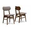 "Sacramento Mid-Century Dark Walnut Wood Grey Fabric Dining Chair ""Walnut"" Brown/Grey"