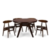 "Flamingo Mid-Century Dark Walnut Wood 5PC Dining Set ""Walnut"" Brown/Grey"