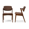 "Elegant Mid-century Modern Scandinavian Style Dark Walnut Wood Brown Fabric Upholstered Dining Armchair ""Walnut"" Dark Brown/Brown"