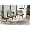 Elegant Mid-Century Dark Walnut Wood Grey Fabric Upholstered Dining Armchair Light Grey/Walnut Brown