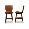 "Elsa Mid-century Modern Scandinavian Style Dark Walnut Bent Wood Counter Stool ""Walnut"" Dark Brown"