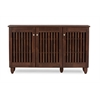 Fernanda Modern and Contemporary 3-Door Oak Brown Wooden Entryway Shoes Storage Wide Cabinet