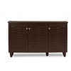 Winda Modern and Contemporary 3-Door Dark Brown Wooden Entryway Shoes Storage Cabinet