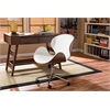 """Bruce Modern and Contemporary White and Walnut Office Chair White/""""Walnut"""" Brown"""