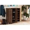 "Shirley Modern and Contemporary ""Walnut"" Medium Brown Wood 2-Door Shoe Cabinet with Open Shelves ""Walnut"" Brown"