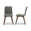 Sugar Mid-century Retro Modern Scandinavian Style Dark Grey Fabric Upholstered Walnut Wood Finishing Dining Chair