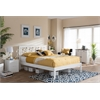 Celine Modern and Contemporary Geometric Pattern White Solid Wood King Size Platform Bed