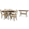Balmoral Chic Country Cottage Antique Oak Wood and Distressed Light Grey 8-Piece Dining Set with 40-inch Extendable Dining Table Brown/Light Grey