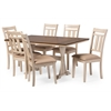 Roseberry Shabby Chic French Country Cottage Antique Oak Wood and Distressed White 7-Piece Dining Set with Trestle Base 60-Inch Fixed Top Dining Table Brown/Cream