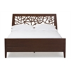"Jennifer Tree Branch Inspired Modern and Contemporary King Size Walnut Finishing Solid Wood Platform Base Bed Frame ""Walnut"" Brown"