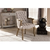 Clemence French Provincial Weathered Oak Beige Linen Upholstered Armchair