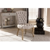 Clemence French Provincial Inspired Weathered Oak Beige Linen Upholstered Dining Side Chair