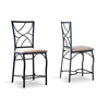 Valletta Wood and Metal Transitional Stool Black/Beige