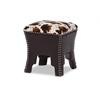 Sally Modern and Contemporary Cow-print Patterned Fabric Brown Faux Leather Upholstered Accent Stool with Nail heads Brown/Cow Print